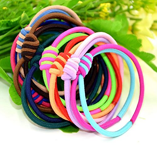Ponytail Holders (10Pcs) Hair Bands Elastic Bands Ribbon Bands Hair Ties Accessories - Pack of 12 (Model5, Multicolor)  available at amazon for Rs.129