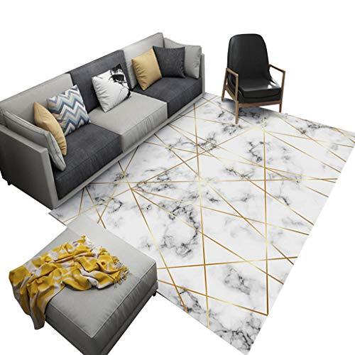LiuJF Geometrische Teppich, Marmor Textur Gold Line Rechteckige Teppich Wohnzimmer Schlafzimmer Bekleidungsgeschäft Schmuckgeschäft Dekorative Teppich (Color : A, Size : 120 * 180CM) - Gold-rechteckiger Teppich