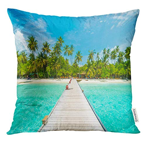 Throw Pillow Cover Beautiful Tropical Maldives Island with Beach Sea and Coconut Palm Tree on Blue Sky for Nature Holiday Dekorative Kissenbezug Home Decor Square 18 x 18 Zoll Kissenbezug (Zebra-back-kissen Für Bett)