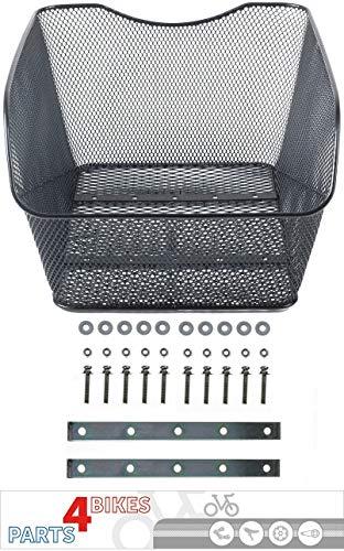 P4B Hinterrad Fahrradkorb Modell Schoolbag XXL zur Festmontage | Schultaschenkorb | engmaschig | schwarz