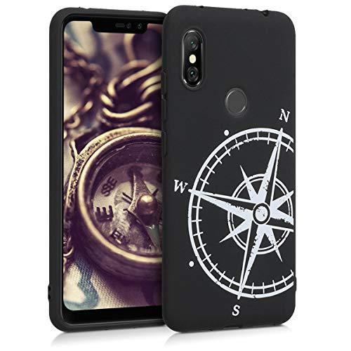 kwmobile Funda para Xiaomi Redmi Note 6 Pro - Carcasa de TPU para móvil y diseño de Aguja magnética en Blanco/Negro