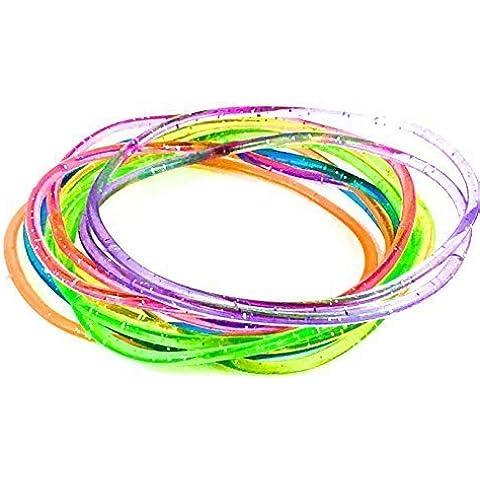 Card of 12 Glitter Gummy Jelly Rubber Bangles Bracelet Wristband 80's Fancy Dress Girls