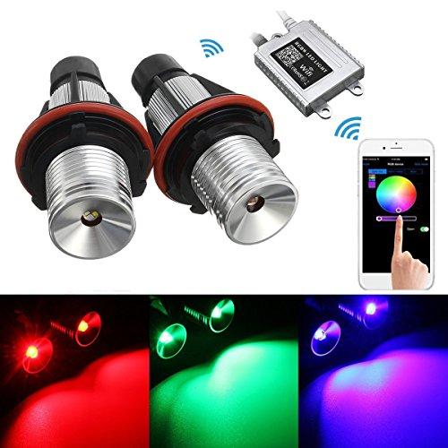 LED Scheinwerfer Angel Eyes, AMBOTHER Auto Headlight RGB mit WIFI Fernüber E39 E53 E60 E83