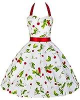 Pretty Kitty Fashion 50s Kirsche Weiß Rot Neckholder Kleid