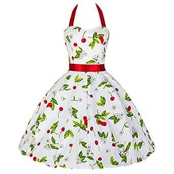 Pretty Kitty Fashion 50s Kirsche Weiß Rot Neckholder Kleid XS