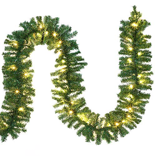 Casaria Weihnachtsgirlande I 10m I 200 LED's I In & Outdoor I Tannengirlande Tannenzweiggirlande Weihnachtsdeko