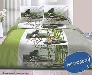 Parure de lit Housse de couette MICROFIBRE double 2 personnes 240 x 220 cm - UNE VIE ZEN + 2 taies d'oreiller - ZEN Life Duvet Cover