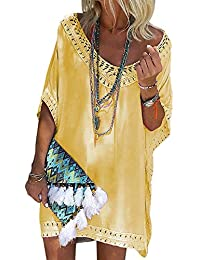 ee1481a55 FIYOTE Womens Beachwear V Neck Crochet Bikini Cover Up Beach Dress