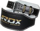 RDX Cuir Fitness Musculation Ceinture 6 D'haltérophilie Sudation D'entraînement Poids - Noir - M