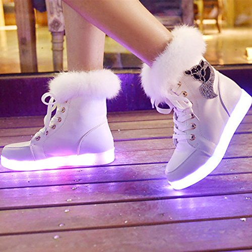 Oasap Femme Mode Boots USB Charger LED Lumineuse Strass Décoration Black