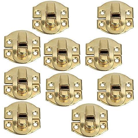 DN Amarillo Mini Candado cerrojo hebilla estribo de cierre para armarios de cajones (Pack de 10)