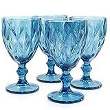 Werner Voss Weingläser Blue 4 Set Weinglas Blau Wasserglas Weißwein Rotwein Glas rustikal Modern Landhaus 250 ml