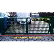 Hochwertiges, 2-flügeliges Tor / Grün beschichtet / Tor-Einbau-Breite: 250 cm - Tor-Einbau-Höhe: 103 cm - Inklusive 2 Pfosten (60mm x 60mm) / Einfahrtstor Gartentor Mattentor