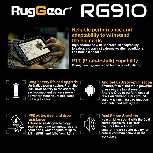 RugGear RG910 Outdoor Tablet - Wasserdichtes, Staubdichtes, Stoßfestes Rugged Tablet, 8\'\' Corning-Gorilla Display, 32GB, Handgurt