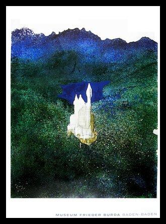 Gerhard Richter Schloss Neuschwanstein Poster Kunstdruck Bild im Alu Rahmen in schwarz 59,4x84,1cm (Neuschwanstein Poster Schloss)