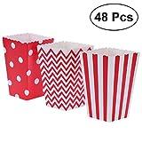 Popcorn Tüten, 48pcs Popcorn-Boxen Streifen-Wellen-Punkt-Papier-Süßigkeit-Kästen für Parteibevorzugung (rot)