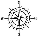 Generic Kompass Aufkleber Polarstern Windrose Aufkleber Auto Caravan Wohnmobil 173/1 (20x20cm, schwarz Glanz)