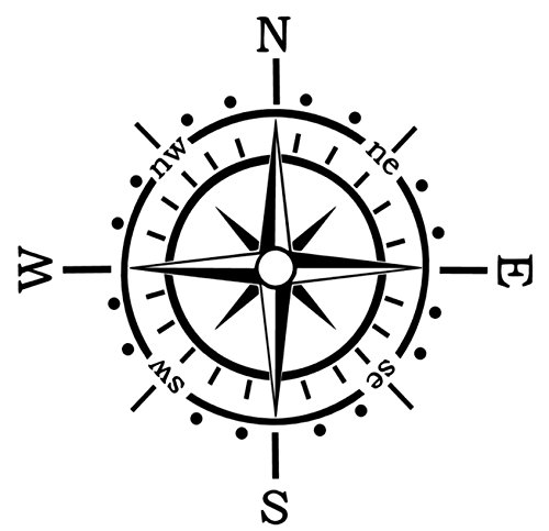 Generic Kompass Aufkleber Polarstern Windrose Aufkleber Auto Caravan Wohnmobil 173/1 (30x30cm, Silbergrau Glanz)