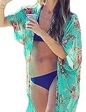 Damen Sommer Kimono Stil Gedruckt Chiffon Strand Bikini Pareos Strandkleider (grün)