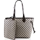 LeahWard Damen 2 IN 1 Schultertasche mit Clutch Bag Designer-Einkaufstaschen 861 (GRAU)