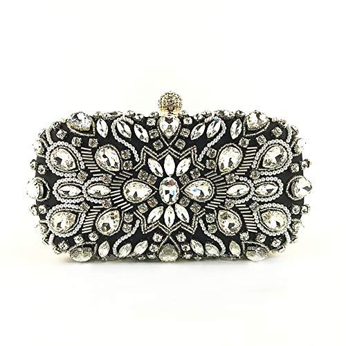 SHMILY Handtasche Perlen Bestickte Diamant-Dinner-Tasche Hand Nehmen Baotan Schultertasche Handgemachte Weibliche Tasche,Black -