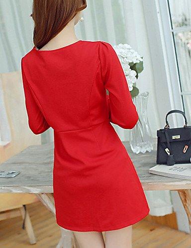 PU&PU Robe Aux femmes Trapèze Vintage / Simple,Couleur Pleine Col Arrondi Au dessus du genou Polyester / Spandex BLACK-S