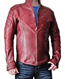 Smallville Superman S Logo Men's Real Leather Jacket Red - ...