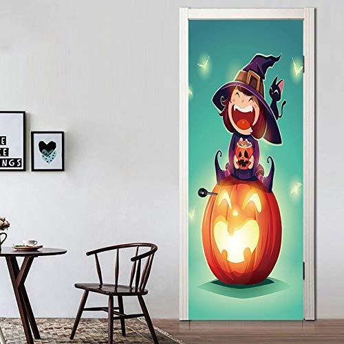 TACBZ 3D Halloween 90X200 Cm Simulation Tür Wandbild Kunst Diy Tür Aufkleber Wohnzimmer Schlafzimmer Hotel Kindergarten Pvc Vinyl Dekorative Tür Wandaufkleber