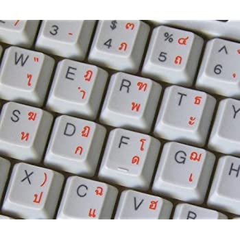 THAI TRANSPARENT KEYBOARD STICKERS WITH BLUE LETTERS