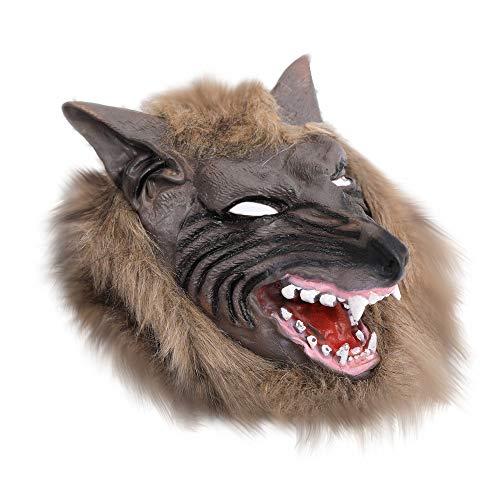 Werwolf Maske Für Erwachsene (Colorful Halloweenmaske Werwolf Horror Maske Wolf Vollmaske Karneval Werwolfmaske Wolf Kopf Maske One Size Herren Damen (Braun))