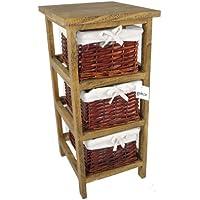 Geko 27 x 31 x 58 cm Layburn 3 cassetti in legno contenitore con cassetti vimini / cestini per camera da letto / bagno o guardaroba - marrone