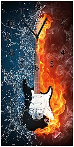 Wallario Design Wanduhr Feuer-Wasser-Gitarre aus Acrylglas, Größe 30 x 60 cm, Schwarze Zeiger - E-gitarre Feuer