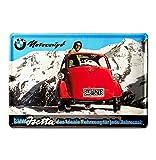 BMW Motocoupé Isetta Rot, 1955 Bleschilder Retro - Blechschild Vintage Garage - Oldtimer - 30x20
