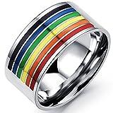JewelryWe Schmuck Herren-Ring, Damen-Ring, Regenbogen Farbe Streifen Homosexuell Gay Pride, Edelstahl, Silber - Größe 57
