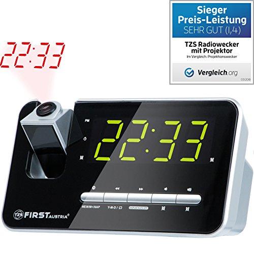 TZS First Austria - Radiowecker mit Projektor, Projektionswecker, Display abschaltbar dimmbar, Flexible Tageswahl, Snooze-Funktion, 2 Weckalarme, Radio automatischer Abschaltung Quarzstabilisator