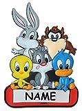 Unbekannt Türschild / Namensschild - Looney Tunes mit Namen - Kinderzimmer Schild für Kinder Mädchen Jungen Möbel Bett Deko - z.B. auch für Haustiere Hundehütte Schränke