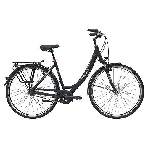 Pegasus Solero SL Wave Damenfahrrad 7 Gang Cityrad Trekking Fahrrad 2017, Farbe:Schwarz, Rahmenhöhe:50 cm