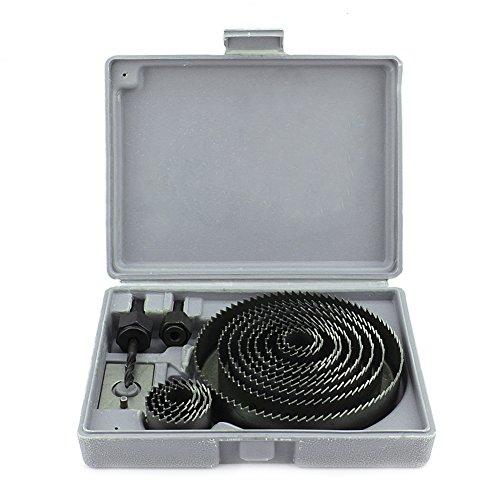 Downlight-kit (Yosoo 16 Loch Stahlsägeblatt Kit Metall Kreis Ausstechform rund-Bohrer Holz-Legierung Downlights 19–127 mm mit Etui)