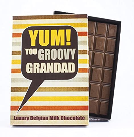 Novelty Chocolate Gift for Grandad 85 Gram Best Luxury Belgian Boxed Bar Box of Chocolates for Grampy Gramps Grandfather Grandpa for His Birthday or to Say Thank You Fun Greetings Card Humour for
