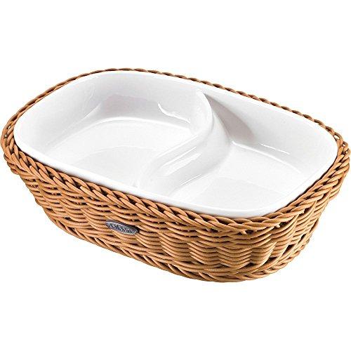 Saleen 2101604160 Panier rectangulaire avec 2 compartiments Porcelaine Beige