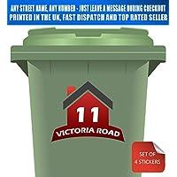 Wheelie Bin Stickers Number & Street Name (Pack of 4) Custom Made in Red