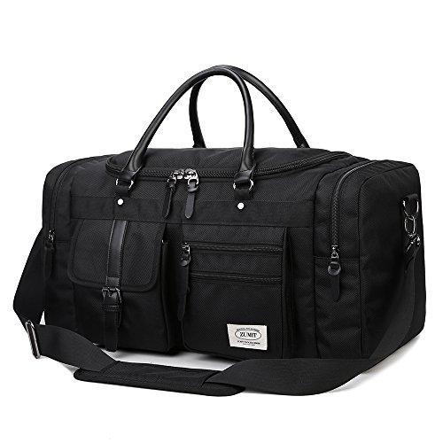 Reisetasche Reisegepäck Sporttasche Retro Weekender Duffel Tasche Schultertasche für Damen Herren Reisen Wandern Schule und Arbeit Holdall Bag mit der Großen Kapazität Schwarz – 60Liter