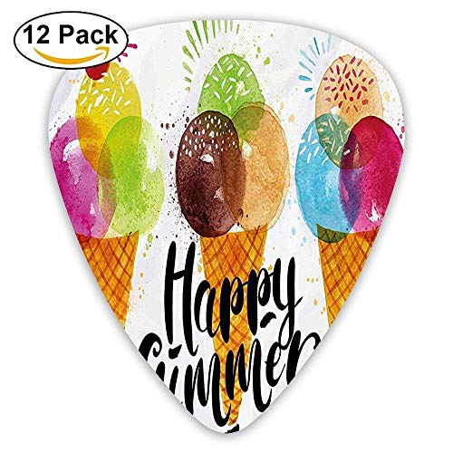 Medium Cone Top (Cute Print Of Ice Cream Cones And Fruit Milk Dessert For Kids Sequal Artwork Guitar Picks 12/Pack)