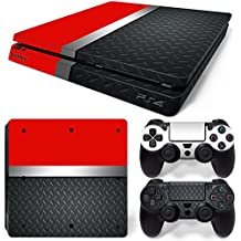 46 North Design Ps4 Slim Playstation 4 Slim Pegatinas De La Consola Red Silver Metal + 2 Pegatinas Del Controlador