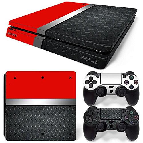 46 North Design PS4 Slim Vinyl Decal Autocollant Skin Sticker Rouge Argent Metal Pour Playstation 4 Slim console + 2 Dualshock Manette Set Autocollant