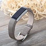 EUG grau Leder Ersatz verstellbare Bänder für Fitbit Alta bracelet-no Tracker