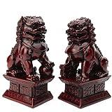 Les Gardiens Lions Fo - Grande Taille Hauteur 17cm - Feng Shui Protection Et Bonheur