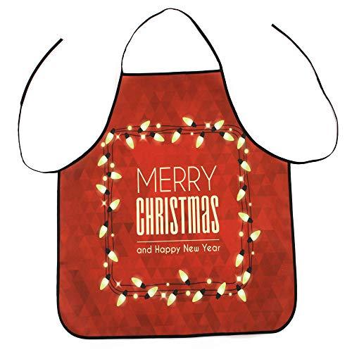 HROIJSL Frohe Weihnachten Weihnachtsschürze Weihnachts Dekoration wasserdichte Schürze Christmas Dinner Party Schürze Farbe Küchenbedarf