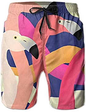 Funny Caps Flamingo Group Men's/Boys Casual Quick-Drying Bath Suits Elastic Waist Beach Pants with Pockets