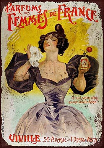 La Femme Bügel (WallAdorn French Femme Perfume Bügeln Sie Plakatmalerei Tin Sign Vintage Wanddekor für Cafe Bar Pub Home)